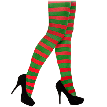 Red & Green Striped Tights