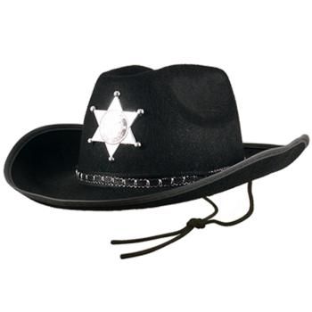 Black Cowboy Sheriff Hat With Star