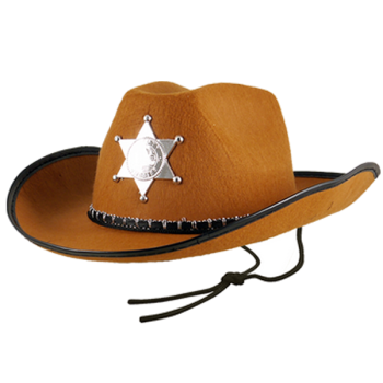 Brown Cowboy Sheriff Hat With Star