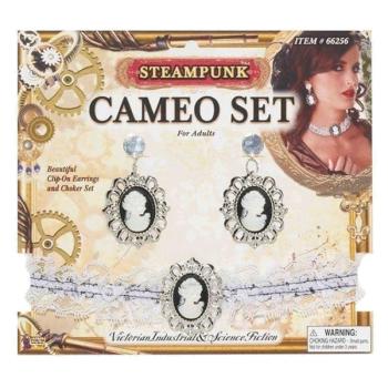 Steampunk Cameo Earrings / Choker Set