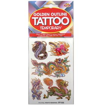 Oriental Golden Outline Temporary Tattoo