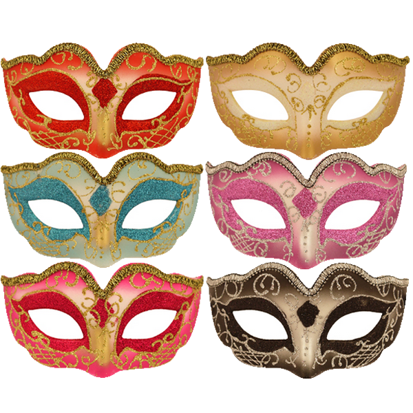 Glitter Eye Masks With Metallic Trim