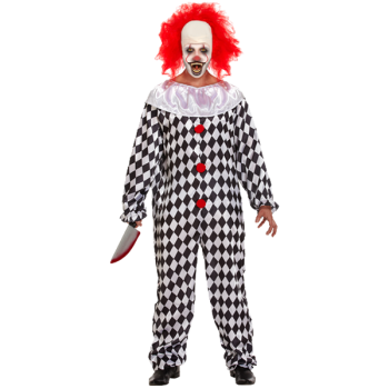 Scary Clown With Wig Adult Costume
