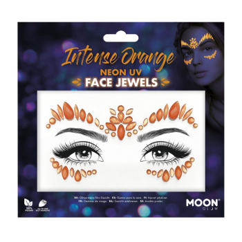 Intense Orange Neon UV Face Jewels