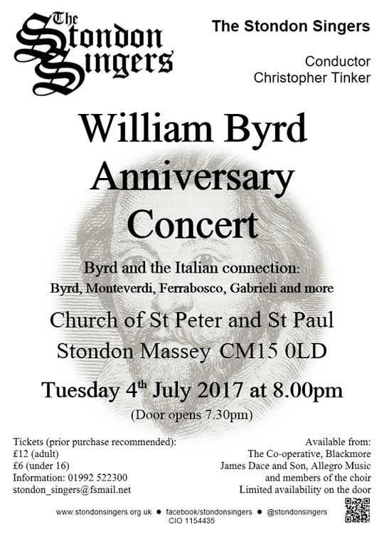 Poster for Byrd concert 2017