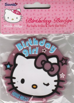 Hello Kitty - Large Birthday Girl Badge - NEW