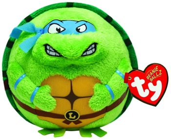 Teenage Mutant Ninja Turtles - Ty Beanie Ballz - Leonardo Medium Plush Soft Toy - 2014 - NEW