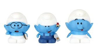 The Smurfs : Micro Village - Micro Smurf 3 Pack - Brainy, Handy And Clockwork - 2013 - NEW