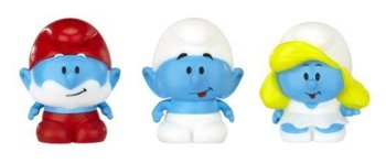 The Smurfs : Micro Village - Micro Smurf 3 Pack - Papa Smurf, Smurf And Smurfette - 2013 - NEW