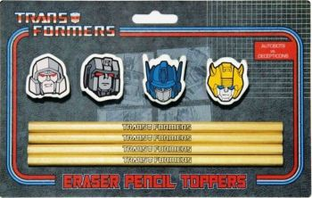 Transformers - Eraser Pencil Toppers And Pencils - Autobots Vs Decepticons - 2013 - NEW
