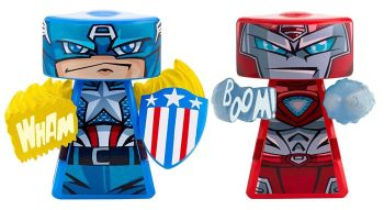 VS Rip-Spin Warriors - Captain America And Iron Man Figures - Marvel Comics - NEW