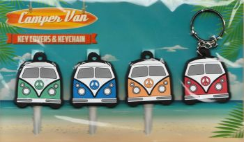 Camper Van Key Covers And Keychain / Keyring Set - NEW