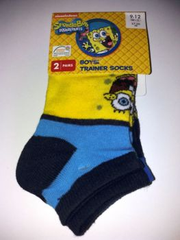 Spongebob Squarepants - Boys Trainer Socks - 2 Pairs - NEW