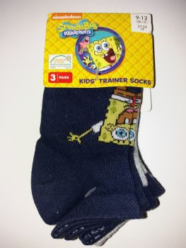 Spongebob Squarepants - Kids' Trainer Socks - 3 Pairs - NEW