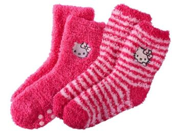 Hello Kitty - Girls Plush Slipper Socks - Pink - 2 Pairs - NEW