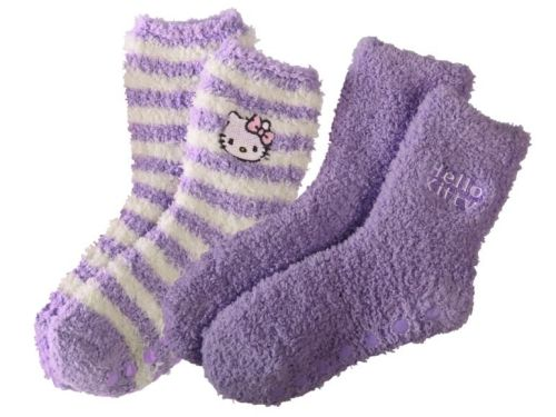 Hello Kitty - Girls Plush Slipper Socks - Purple - 2 Pairs - NEW