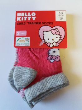 Hello Kitty - Girls Trainer Socks - 2 Pairs - NEW
