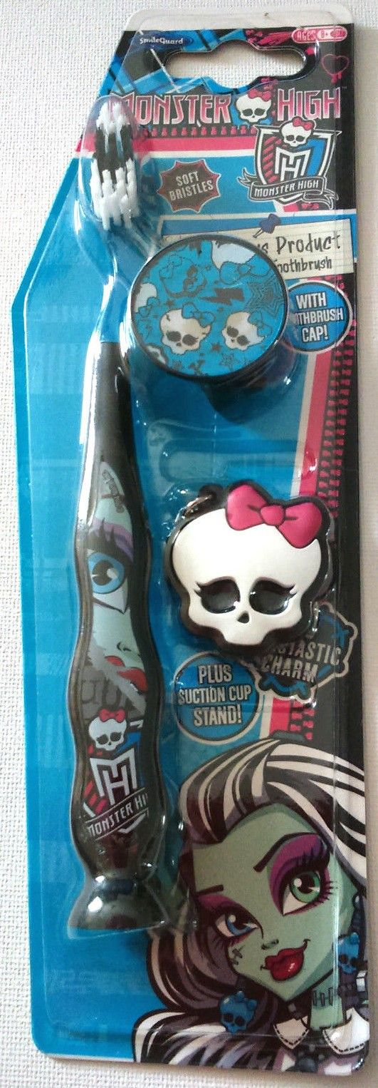 Monster High - Suction Cup Toothbrush With Cap And Charm - Blue - NEW - 201