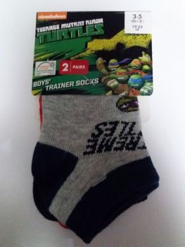 Teenage Mutant Ninja Turtles - Boys Trainer Socks - 2 Pairs - NEW