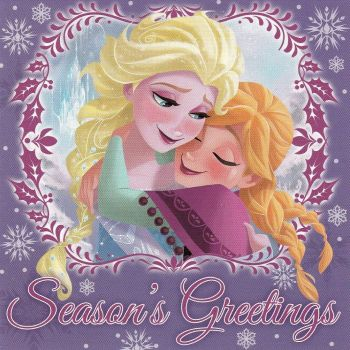 Frozen Mini Christmas Card - Elsa And Anna Hugging - NEW