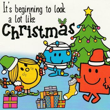 Mr Men And Little Miss Mini Christmas Card - Sunshine, Bump And Strong - NEW