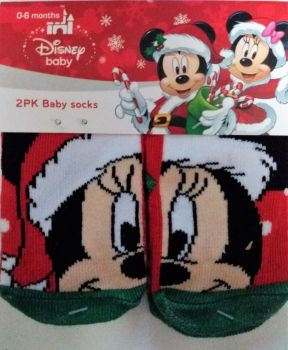 Minnie Mouse - Christmas Baby Socks - 2 Pairs - NEW