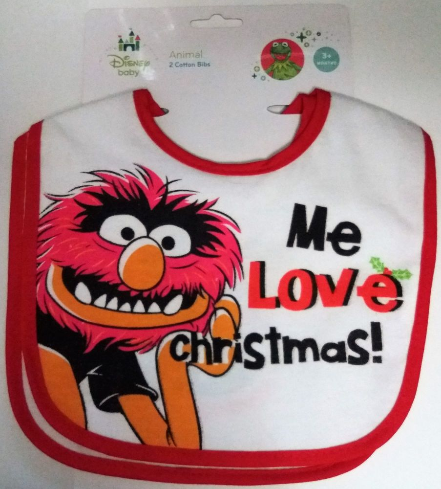 The Muppets - Christmas Bibs - Animal - Set Of 2 - Disney - NEW