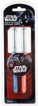 Star Wars - Glow In The Dark Lightsaber Pens - Set Of 2 - NEW