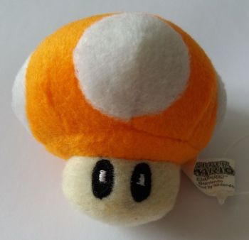 Super Mario - Orange Mushroom Plush Soft Toy Keyring - NEW