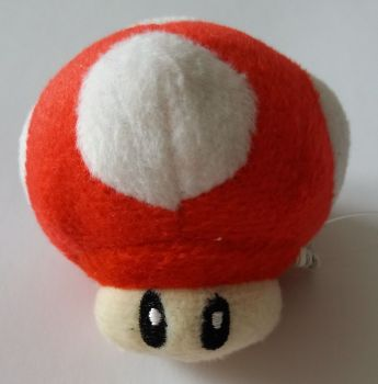 Super Mario - Red Mushroom Plush Soft Toy Keyring - NEW