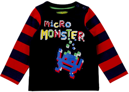 Space Invaders Style - Long Sleeve T-Shirt - Micro Monster - 1 1/2 - 2 YRS
