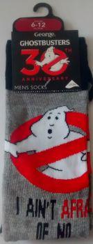 Ghostbusters Socks - I Ain't Afraid Of No Ghost - Grey - Mens UK 6-12