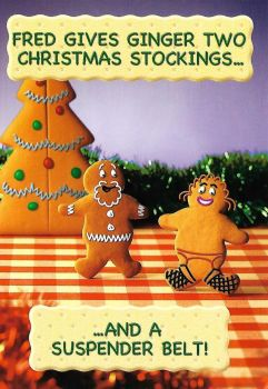 Fred And Ginger Christmas Card - Stockings - NEW