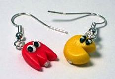 Pac Man Drop Earrings - Red Ghost (Hand-made) - NEW