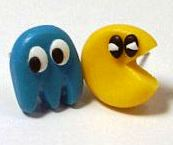 Pac Man Stud Earrings - Blue Ghost (Hand-made) - NEW