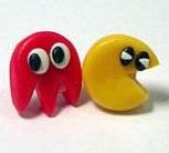 Pac Man Stud Earrings - Red Ghost (Hand-made) - NEW