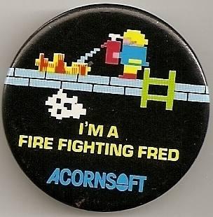 """Acornsoft """"I'm A Fire Fighting Fred"""" Badge"""