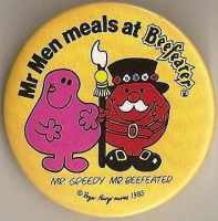 Mr Men - Mr Greedy & Mr Beefeater Badge - RARE
