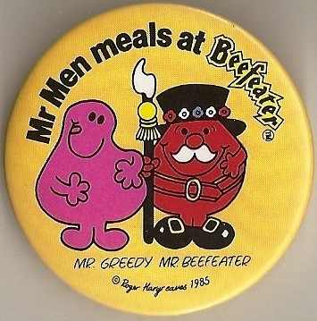 Mr Greedy & Mr Beefeater Badge - RARE
