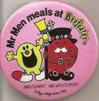 Mr Men - Mr Funny & Mr Beefeater Badge - RARE