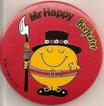 Mr Happy Beefeater Badge [ic]