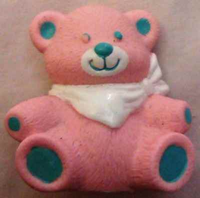 Pink And Blue Teddy Bear With White Bib