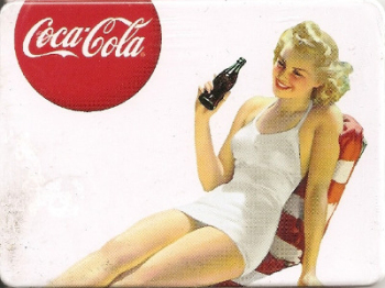 Coca Cola Vintage Style Magnet - Blonde Girl On Striped Chair - NEW