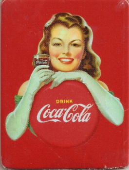 Coca Cola Vintage Style Magnet - Brunette Girl With Gloves - NEW