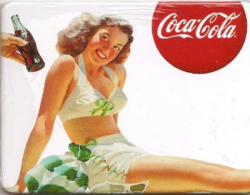 Coca Cola Vintage Style Magnet - Brunette Girl With Striped Bag - NEW