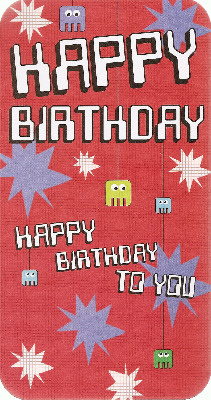 Retro Birthday Card - Space Invaders Style - NEW