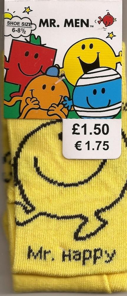 Mr Men - Mr Happy Childrens Socks - NEW