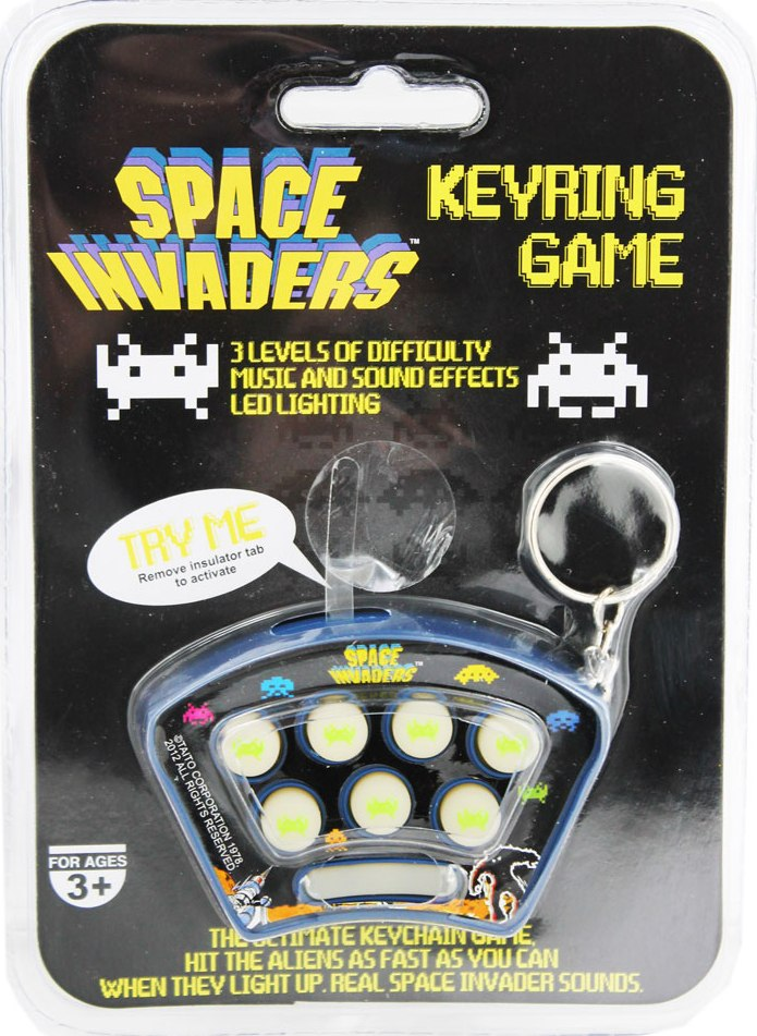 Whack A Space Invader Game Keyring - NEW