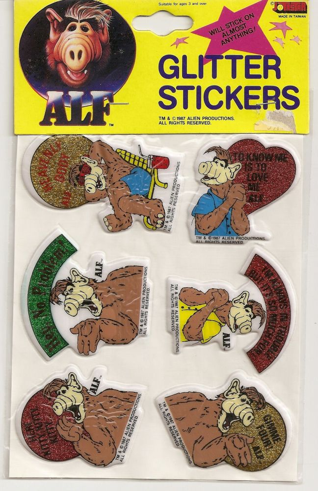 ALF Glitter Stickers - Set Of 6 [Design 1] - NEW
