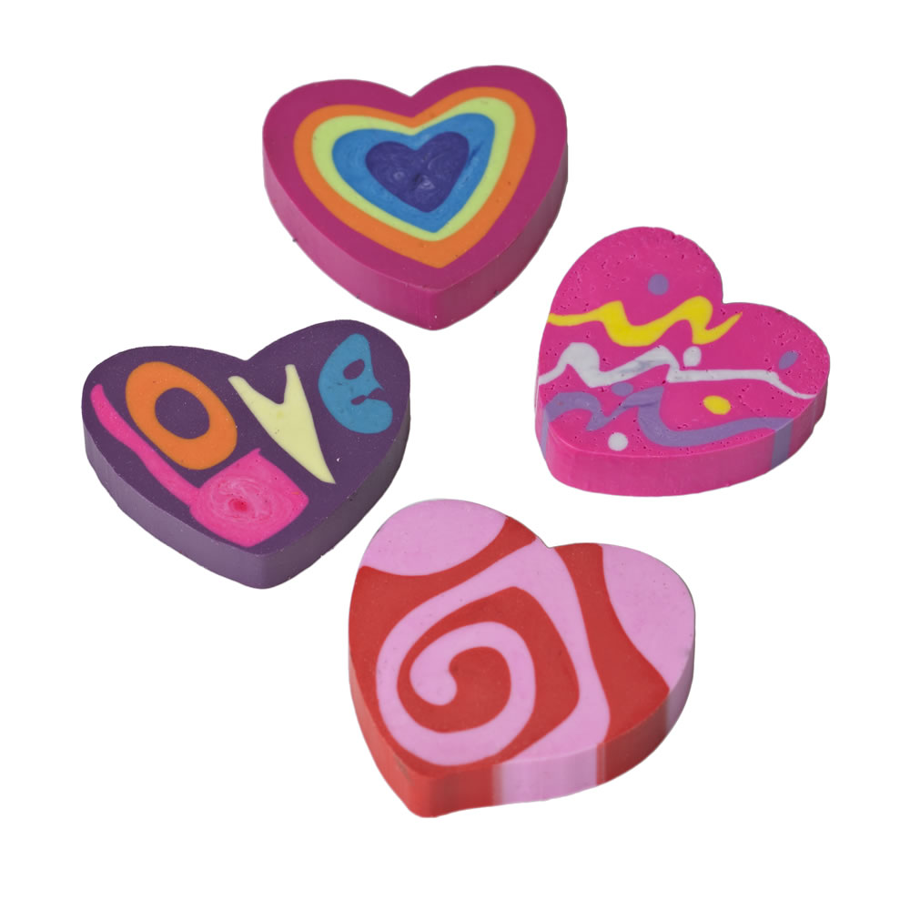 Multi-Coloured Hearts Erasers - Set Of 4 - NEW